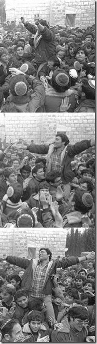 Hanan Porat celebrating establishing the camp at Sebastia, 1975